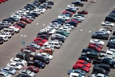 packed parking lot at the dmv