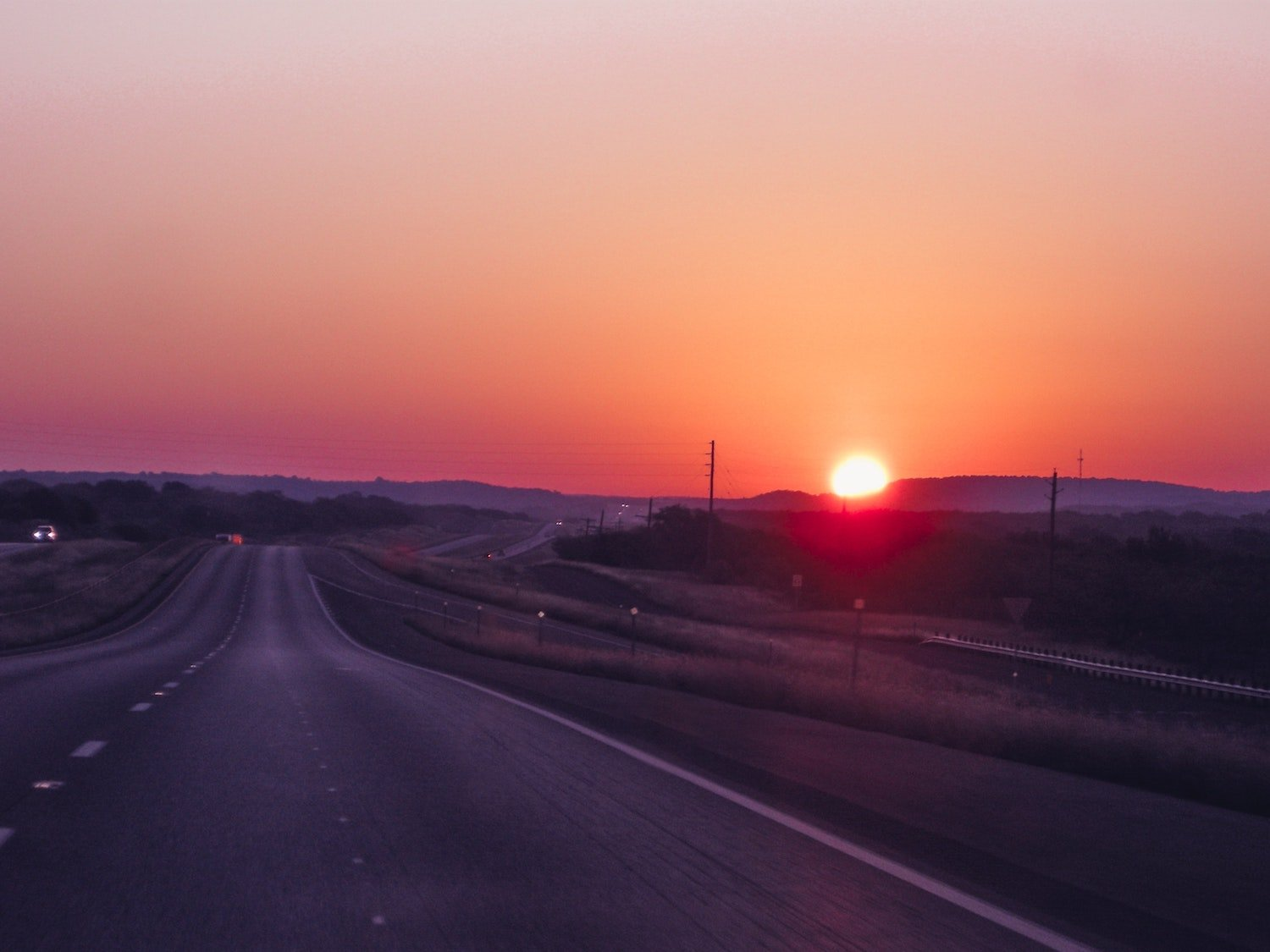 texas interstate at sunset