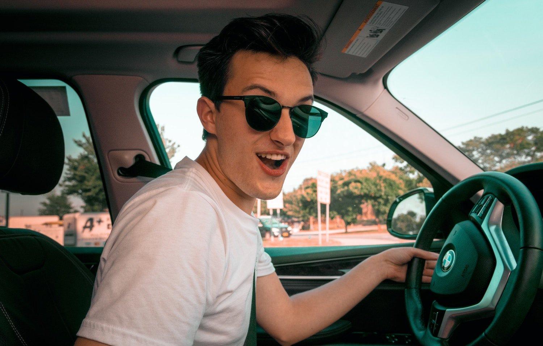 teen boy driving a car