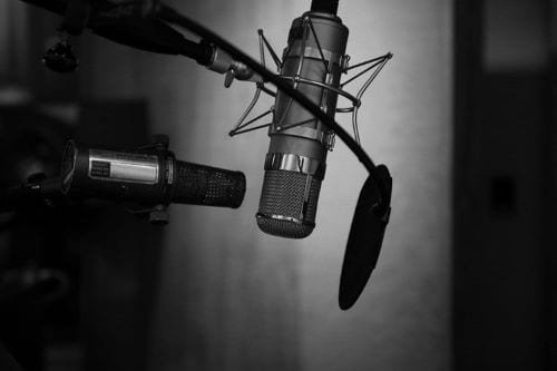 Black and White Podcast Microphone
