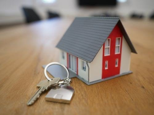 real estate marketing with key and key chain