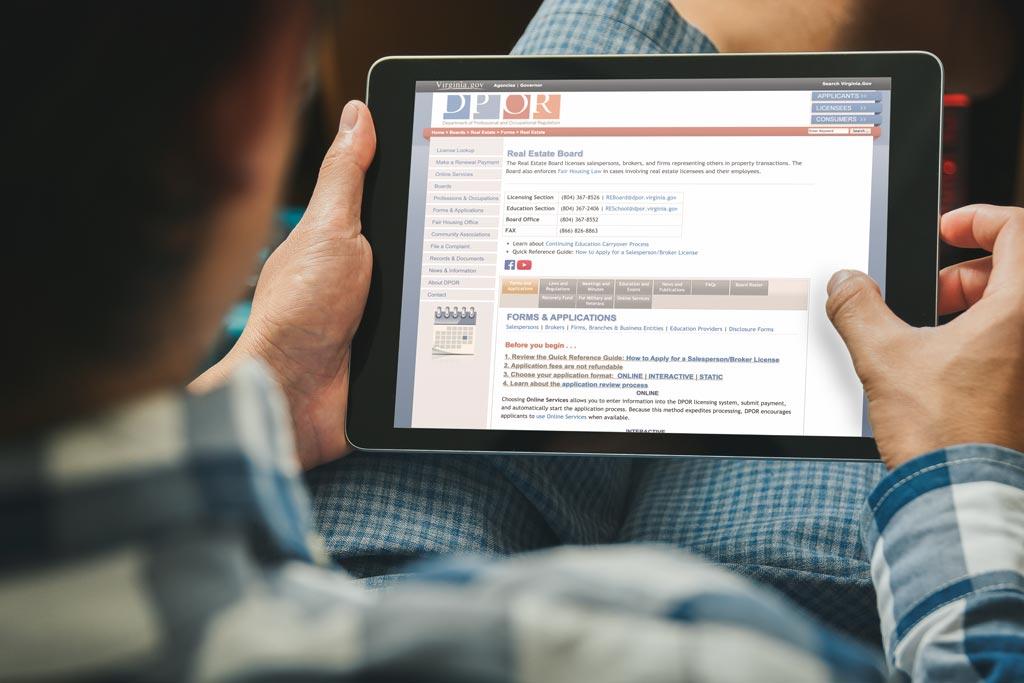 DPOR info guide on tablet