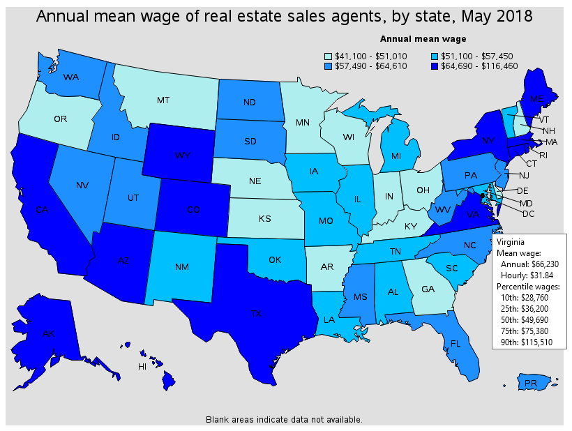 Annual mean wages of real estate salary wages