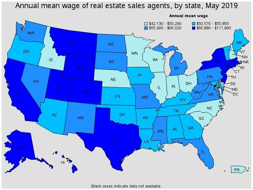US Bureau of Labor Statistics map of income for real estate