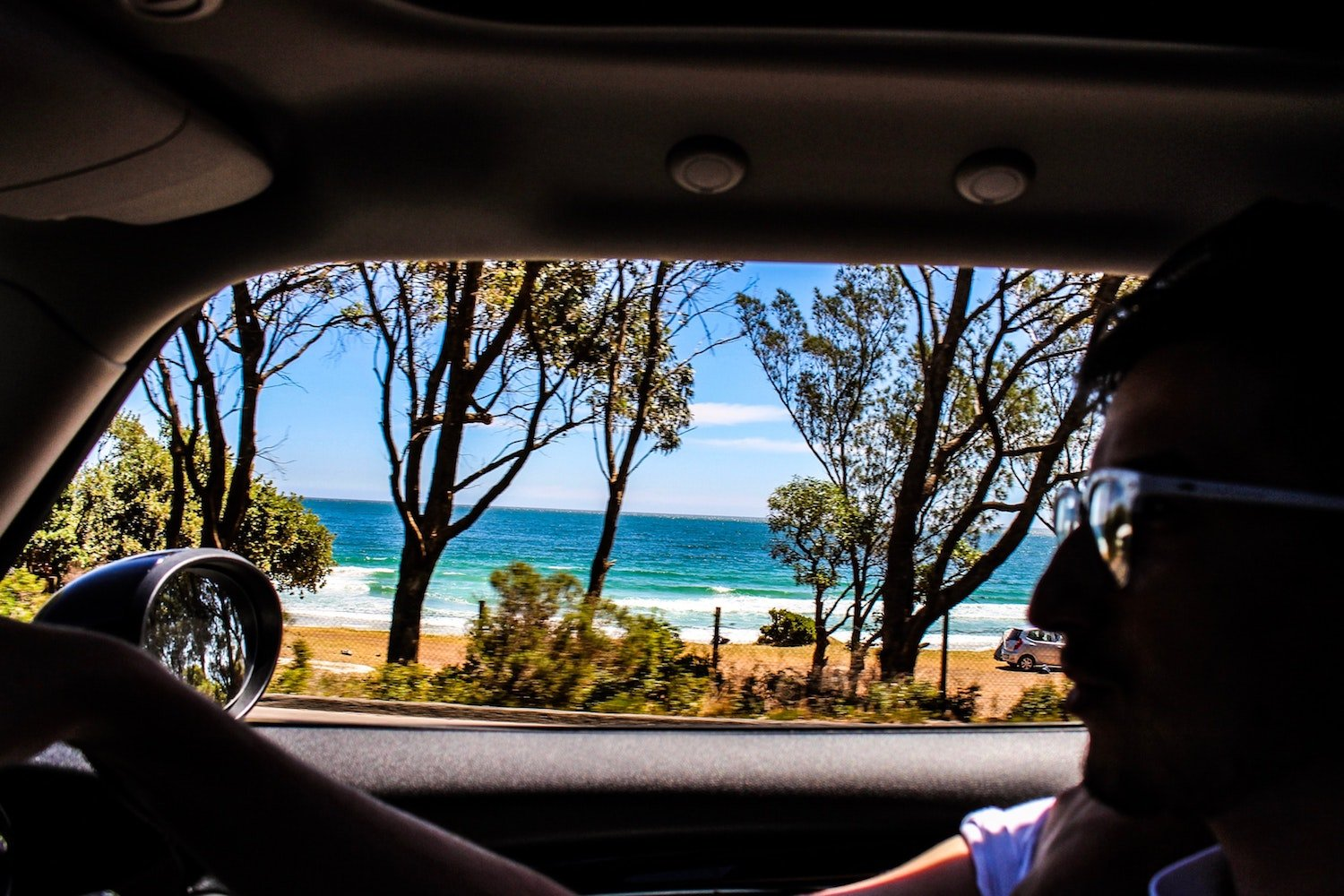 driving by the beach