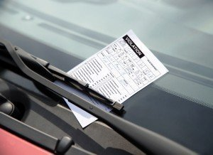 violation ticket on windshield