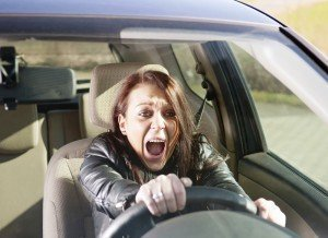 female driver in emergency