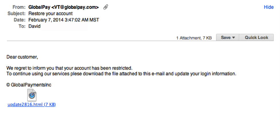 Global Pay phishing example