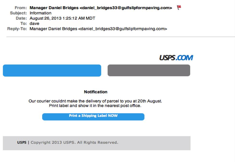 USPS phishing example