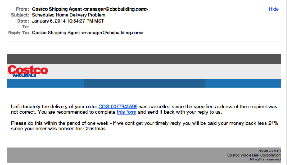 Costco phishing example