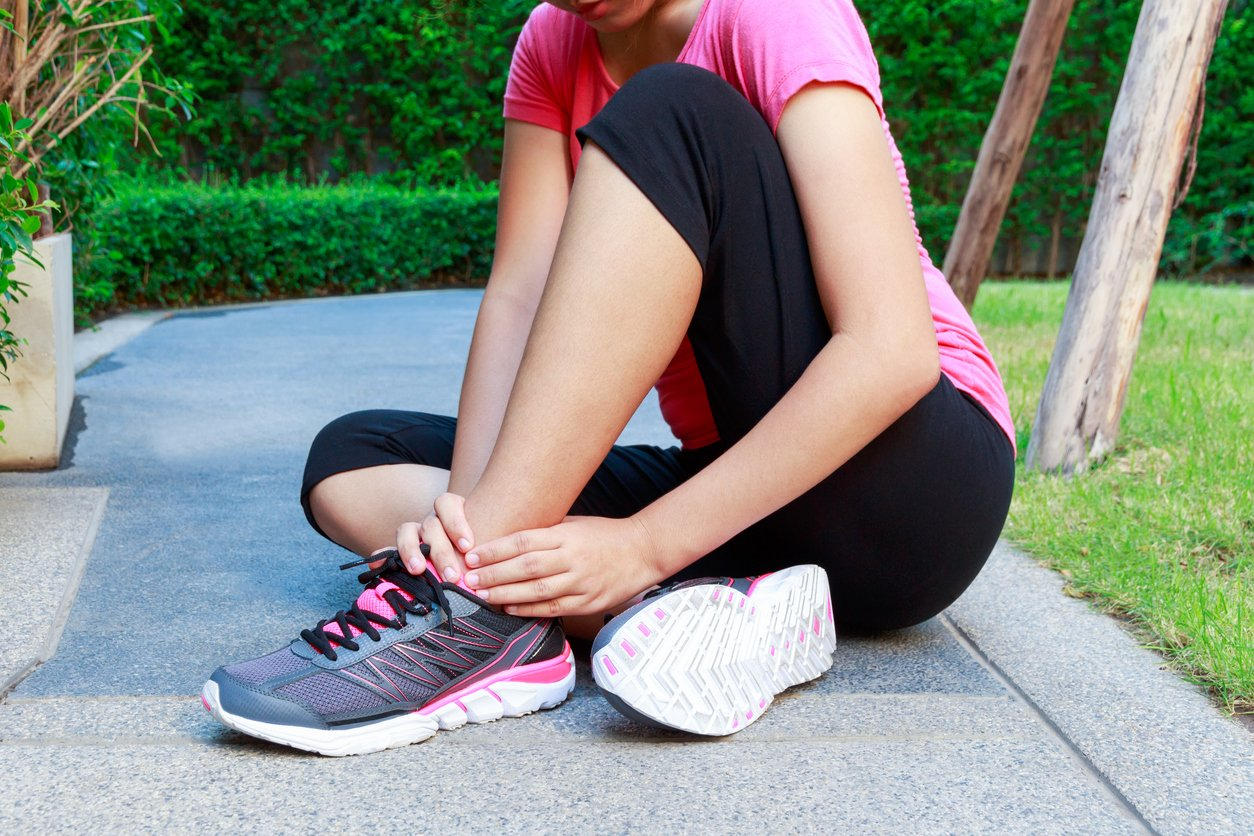 Image of woman with ankle pain.