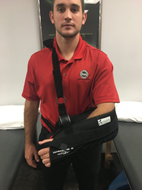 You should put your arm in a sling if it is injured.