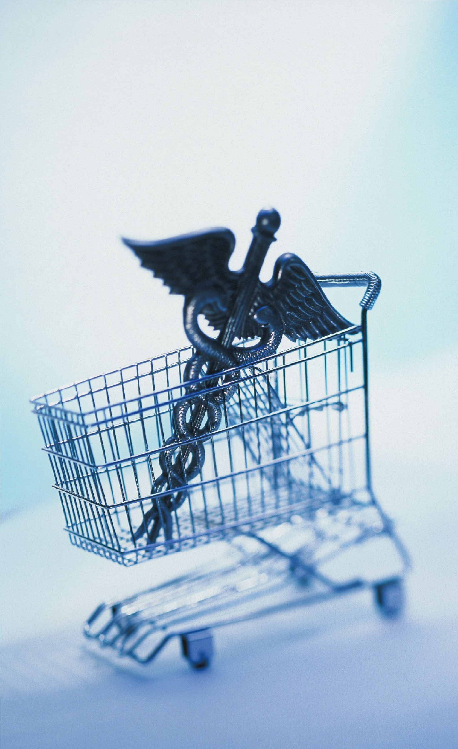 health insurance symbol in a shopping cart