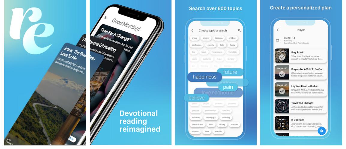 Refresh devotional app showing screenshots on a smart phone